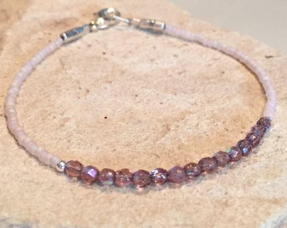 Pale pink bracelet, seed bead bracelet, dainty bracelet, minimalist bracelet, boho bracelet, sterling silver bracelet, gift for her