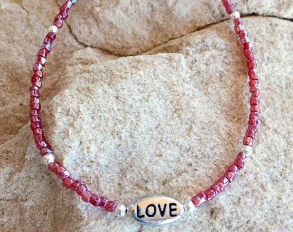 "Red seed bead bracelet, blue seed bead bracelet, message bracelet, sterling silver bracelet, ""Love"" bead, charm bracelet, gift for her"