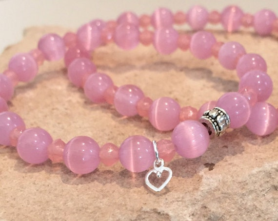 Pink mother-daughter bracelet set, cat's eye glass bead bracelet, Czech glass bracelet, mom daughter bracelet, gift for mom, gift for child