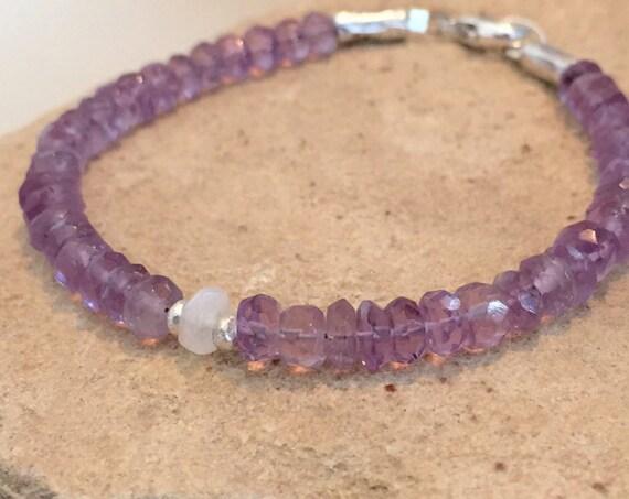 Purple bracelet, amethyst bracelet, Hill Tribe silver bracelet, moonstone bracelet, sundance bracelet, gemstone bracelet, gift for her