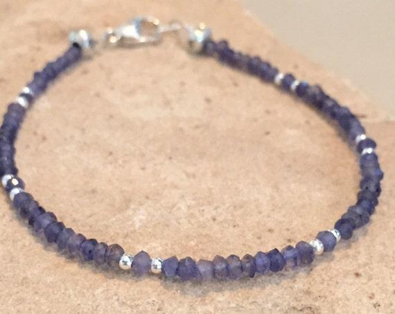 Blue bracelet, iolite bracelet, gemstone bracelet, boho bracelet, sterling silver bracelet, Hill Tribe silver bracelet, stacking bracelet