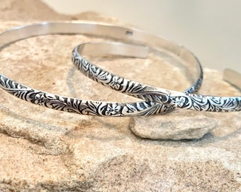Sterling silver bangle bracelet, pattern bangle bracelet, stackable sterling silver bracelet, silver cuff bracelet, patina bracelets