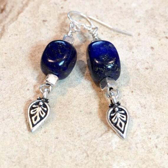 Blue drop earrings, blue dangle earring, lapis earrings, sterling silver earring, sundance earrings, silver dangle earrings, gift for her