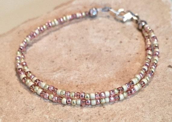 Gold and pink seed bead double or single strand bracelet, boho style bracelet, small bracelet, dainty bracelet, yoga bracelet, gift for her
