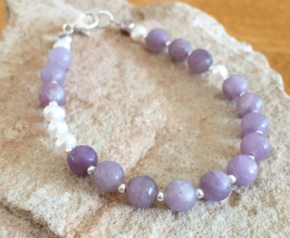 Purple bracelet, lavender stone bracelet, pearl bracelet, gemstone bracelet, sundance bracelet, sterling silver bracelet, gift for her