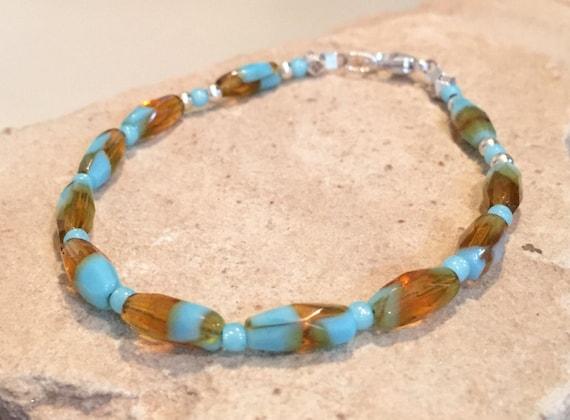 Turquoise and topaz bracelet, Czech glass bead bracelet, Toho seed bead bracelet, sterling silver bracelet, single strand bracelet, boho