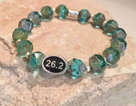 Blue bracelet, bracelet for runner, bracelet for athlete, marathon bracelet, Czech glass bead bracelet, Hill Tribe silver bracelet, sports