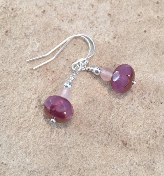 Pink drop earrings, Czech glass bead earrings, dangle earrings, sterling silver drop earrings, everyday earrings, gift for her, boho chic