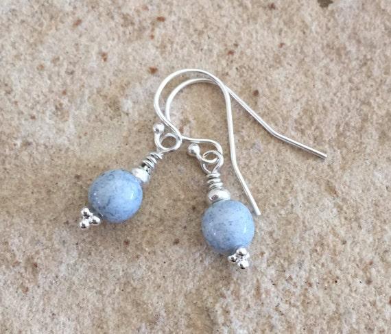 Blue drop earrings, Czech glass bead earrings, dangle earrings, Hill Tribe silver earrings, sterling silver drop earrings, gift for her