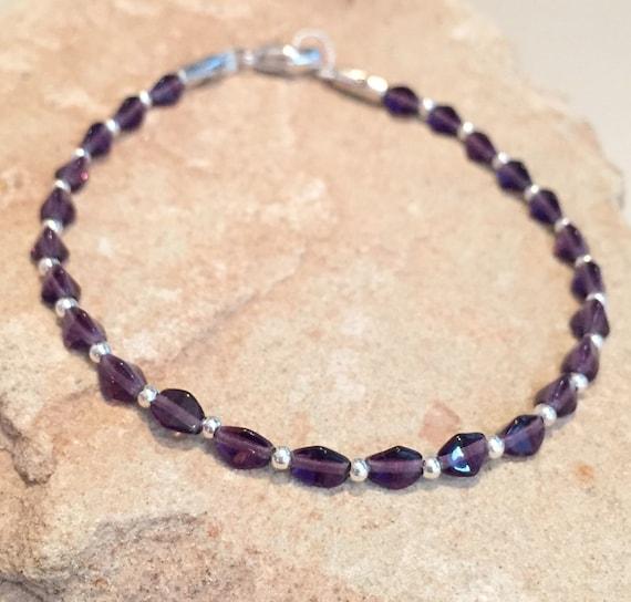 Purple bracelet, Czech glass bead bracelet, sterling silver bracelet, boho bracelet, everyday bracelet, gift for her, bead bracelet