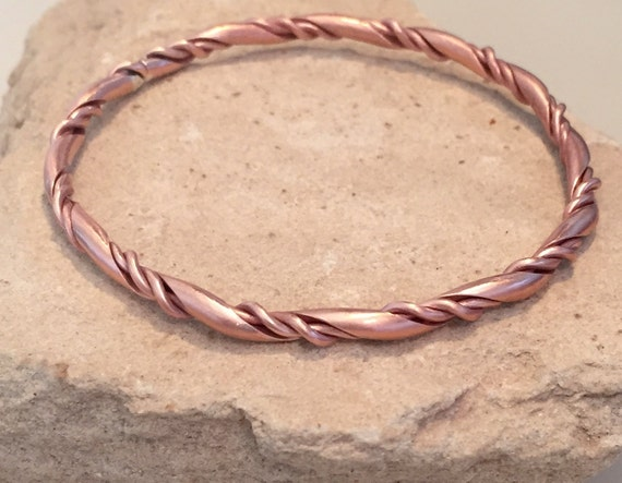 Copper bangle bracelet, twisted bangle bracelet, stackable copper bracelet, stackable bangle, gift for her, gift for wife, simple bangle