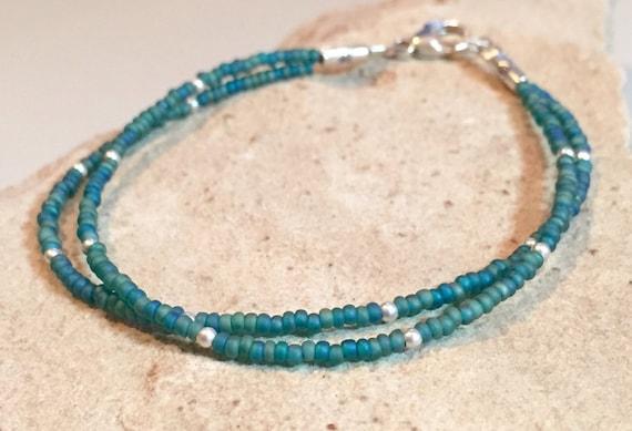 Blue seed bead double or single strand bracelet, teal bracelet, sterling silver bracelet, delicate bracelet, boho bracelet, gift for her