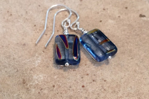 Blue and silver drop earrings, Czech glass bead earrings, sterling silver earrings, drop earrings, dangle earrings, everyday jewelry