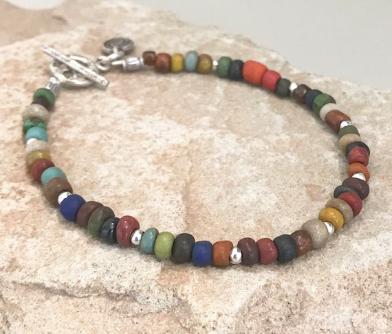 Multicolored seed bead bracelet, Hill Tribe silver bracelet, colorful bracelet, boho bracelet, gift for her, everyday bracelet, boho chic