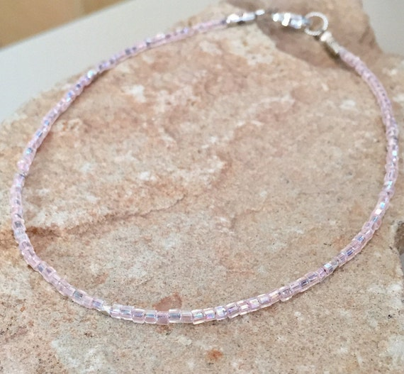 Pink seed bead anklet/ankle bracelet, body jewelry, Hill Tribe silver anklet, sterling silver anklet, small anklet, gift for her, boho chic