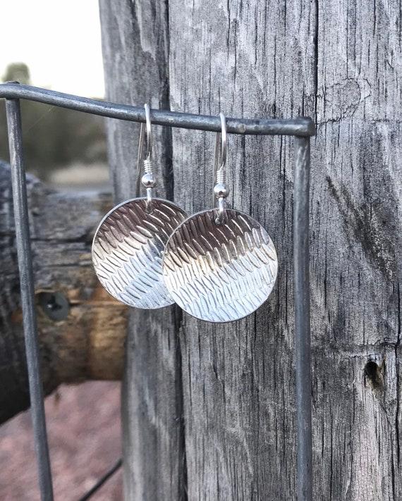 Sterling silver dangle earrings, handmade sterling silver earrings, silver drop earrings, oxidized silver drop earrings, round earrings
