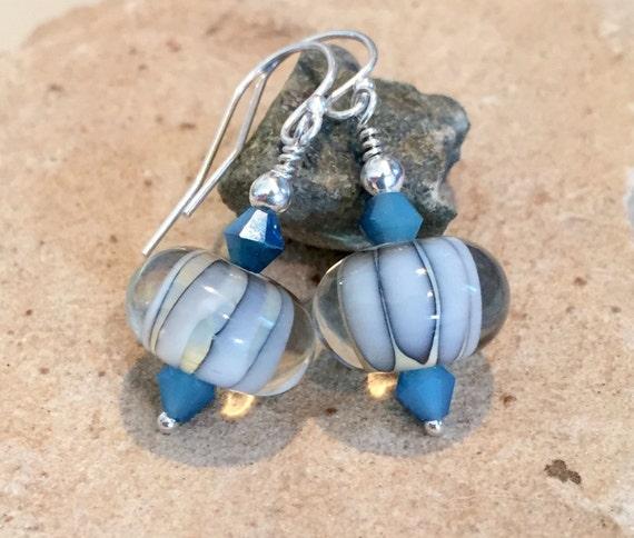 Blue and white drop earrings,  lampwork glass earrings, Swarovski crystal bead earrings, sterling silver earrings, dangle earrings, boho