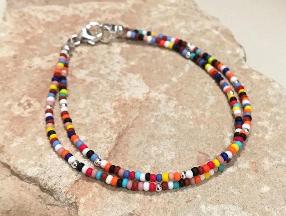 Multicolored seed bead double or single strand bracelet, Hill Tribe silver bracelet, colorful bracelet, boho bracelet, gift for her