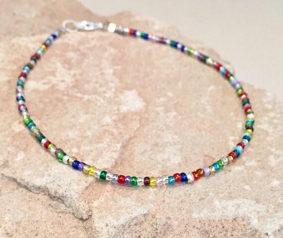 Multicolored anklet, Toho seed bead anklet/ankle bracelet, boho anklet, small anklet, dainty anklet, sterling silver anklet, gift for her