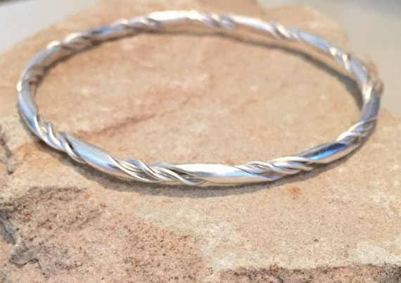 Sterling silver bangle bracelet, twisted bangle bracelet, stackable sterling silver bracelet, stackable bangle, silver bracelet gift for her