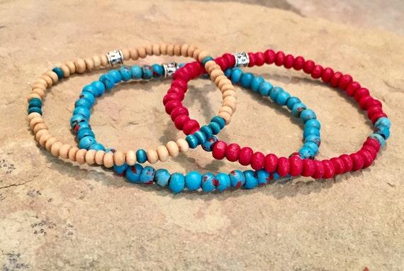 Colorful boho bracelets, wood bead bracelet, stretch bracelets, elastic bracelet, stacklable elastic bracelets, gift for her, boho chic