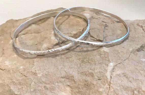 Sterling silver bangle bracelets, hammered silver bracelet, half round with pattern bangle bracelet, stackable sterling silver bracelets