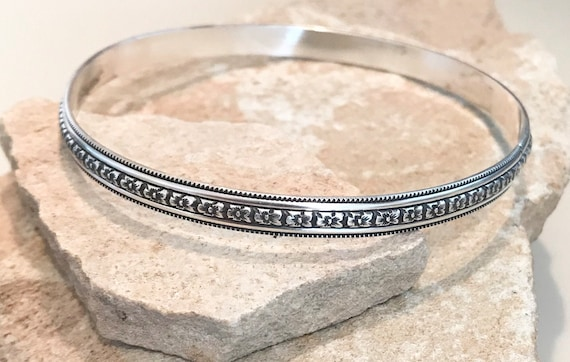 Sterling silver patterned bangle bracelet, patina bangle bracelet, stackable sterling silver bracelet, sterling silver bangle, gift for her
