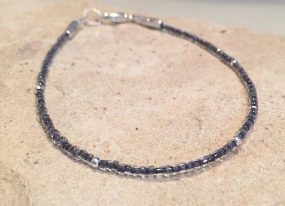Charcoal gray seed bead bracelet, single strand bracelet, sterling silver bracelet, boho bracelet, small bracelet, gift for her, boho chic