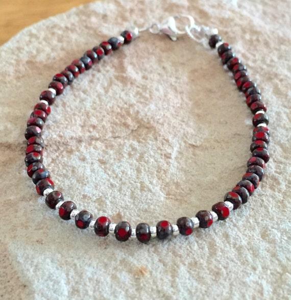 Red bracelet bracelet, Czech bead bracelet, sterling silver bracelet, Hill Tribe silver bracelet, boho style bracelet, gift for wife