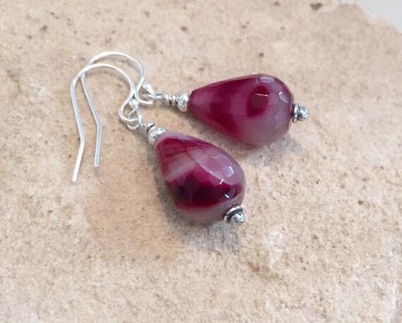 Pink/Fuchsia drop earrings, agate teardrop earrings, Hill Tribe silver earrings, sundance earrings, dangle earrings, gift for her, boho chic