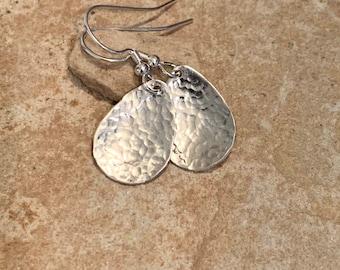 Hammered sterling silver drop earrings, teardrop silver earrings, silver dangle earrings, handmade earrings, everyday earrings, gift for her
