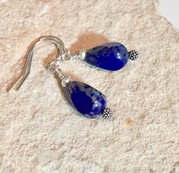 Blue drop earrings, Czech teardrop bead earrings, Hill Tribe silver earrings, silver drop earrings, blue dangle earrings, gift for her