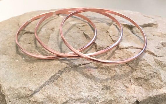 Copper bangle bracelets, half round bangle bracelets, set of 3 bangle bracelets, stackable copper bracelets, stackable bangles, gift for her
