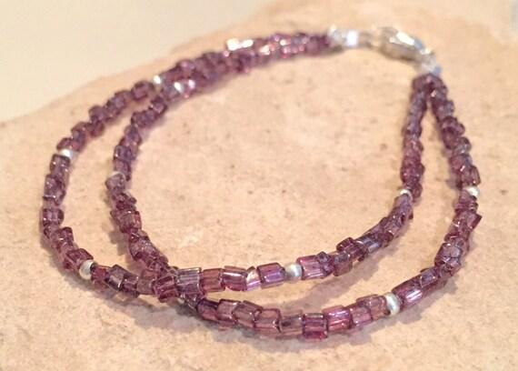 Purple double strand bracelet, Czech seed bead bracelet, boho bracelet, Hill Tribe silver bracelet, yoga bracelet, gift for her, boho chic