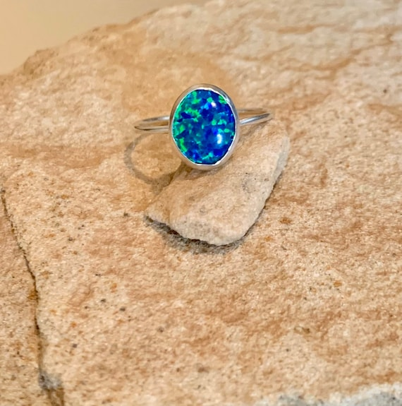 Sterling silver opal ring, oval stone ring, oval gemstone ring, stackable sterling silver ring, sterling silver ring, dainty ring