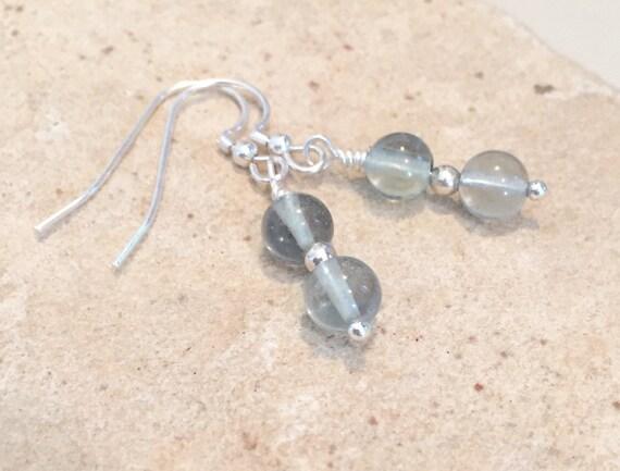 Green fluorite gemstone bead drop earrings, greeen dangle earrings, gemstone earrings, sterling silver drop earrings, gift for her, boho
