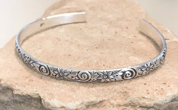 Sterling silver bangle bracelet pattern bangle bracelet silver cuff bracelet patina bracelets stackable sterling silver bracelet