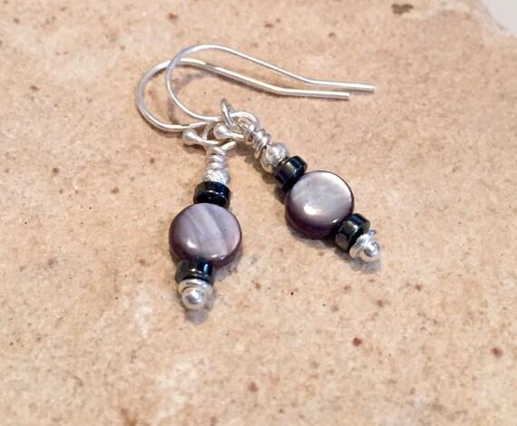 Black drop earrings, river shell beads, hematite earrings, Hill Tribe silver earrings, sundance earrings, dangle earrings, gift for her
