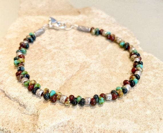 Multicolored bracelet, seed bead bracelet, Hill Tribe silver bracelet, sterling silver bracelet, heart charm, charm bracelet, gift for her