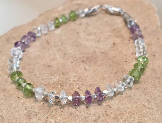 Purple and green bracelet, amethyst, peridot and crystal quartz bracelet, Hill Tribe silver bracelet, sundance bracelet, gift for her