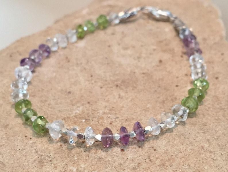 Hill Tribe silver bracelet gift for her amethyst sundance bracelet peridot and crystal quartz bracelet Purple and green bracelet