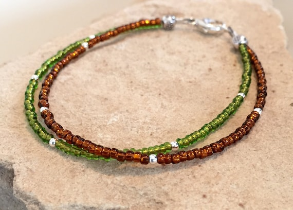 Green and brown double strand seed bead bracelet, fall bracelet, sterling silver bracelet, boho bracelet, small bracelet, gift for her