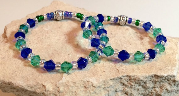 Blue and green mother-daughter bracelet set, Swarovski crystal bead bracelets, toho seed bead bracelets, gift for mom, gift for daughter