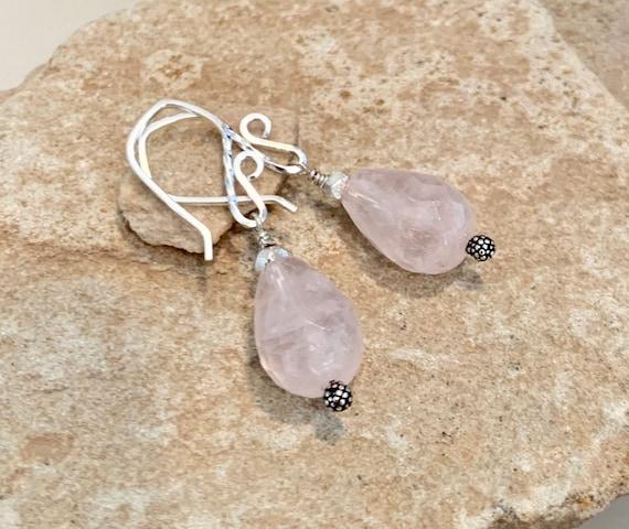 Pink drop earrings, rose quartz dangle earrings, rose quartz earrings, Hill Tribe silver earrings, sundance earrings, gift for her, boho