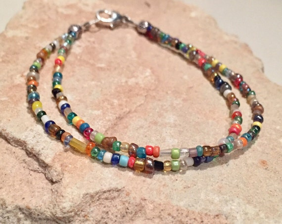 Multicolored seed bead bracelet, double strand bracelet, stackable bracelet, yoga bracelet, minimalist bracelet, beaded bracelet, boho chic