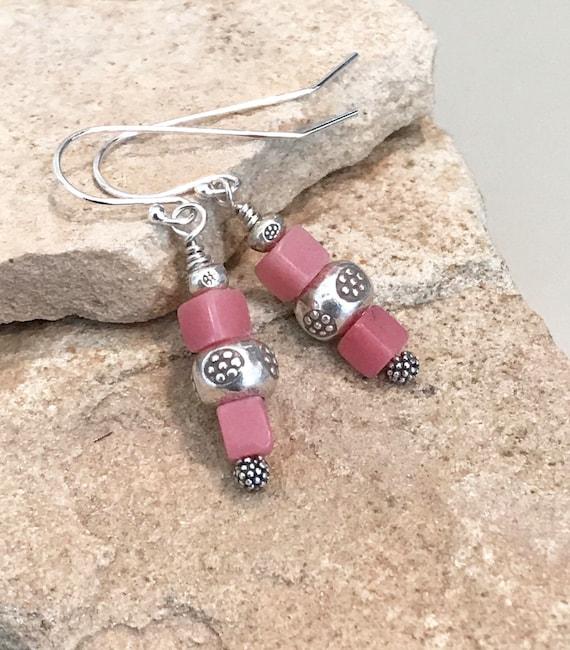Pink drop earrings, silver drop earrings, unique earrings, silver dangle earrings, sterling silver earrings, gemstone earrings, boho chic