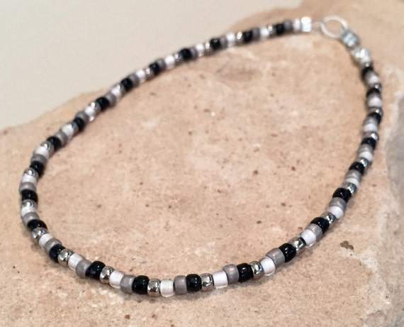 Black and gray Toho seed bead ankle bracelet, Hill Tribe silver anklet, body jewelry, small anklet, dainty anklet, gift for her, boho anklet