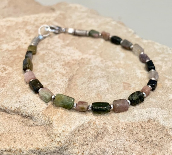 Multicolored bracelet, tourmaline bracelet, Hill Tribe silver bracelet, everyday casual bracelet, sterling silver bracelet, gift for her