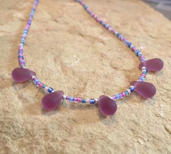 Purple necklace, seed bead necklace, layering necklace, sterling silver necklace, boho necklace, Czech glass teardrop beads necklace