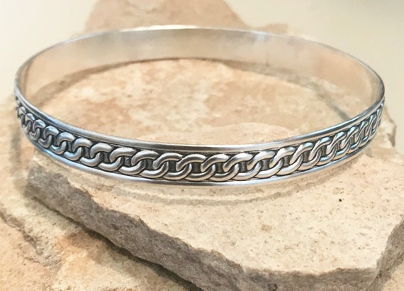 Sterling silver patterned bangle bracelet, pattern bangle bracelet, stackable sterling silver bracelet, sterling silver bangle patina bangle